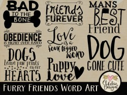 Furry Friends Dog Word Art