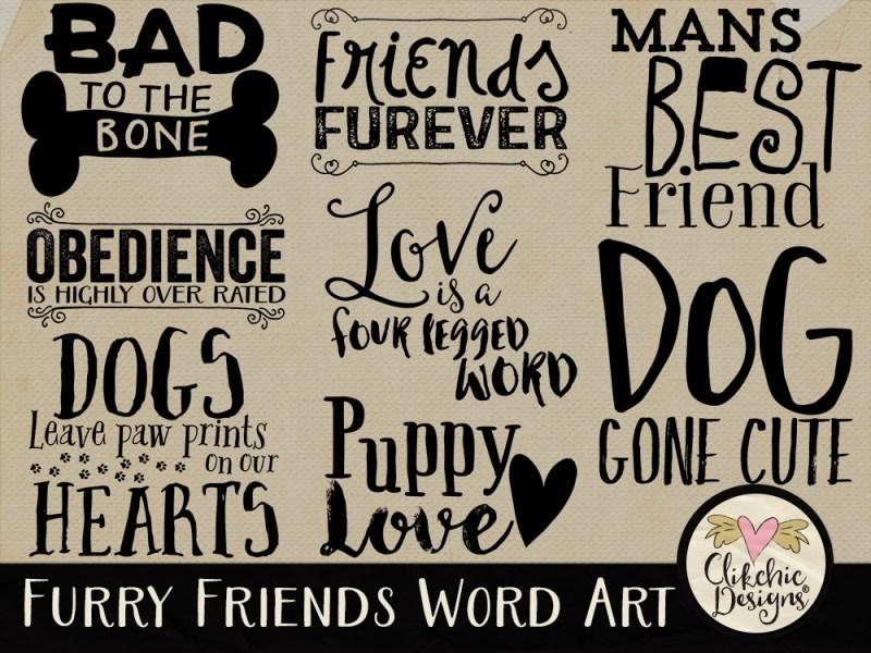 Furry Friends Dog Word Art