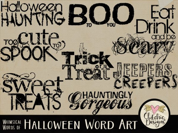 Whimsical Words of Halloween Word Art