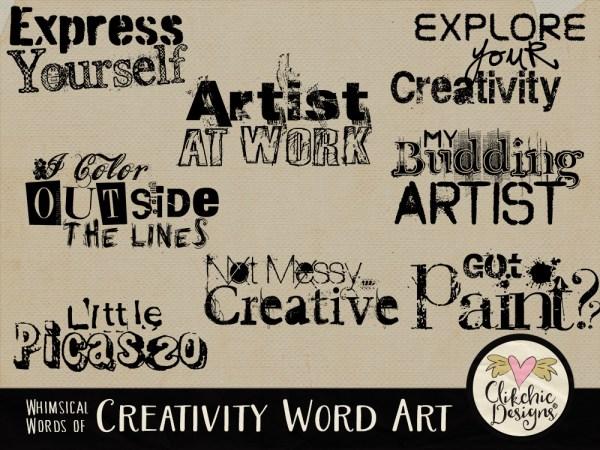 Whimsical Words of Creativity Word Art