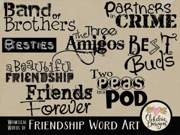 Whimsical Words of Friendship Word Art
