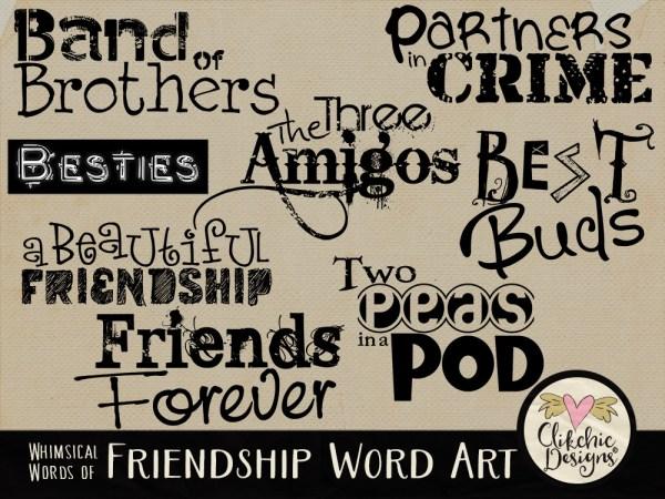 Whimsical Words of Friendship Word Art