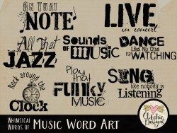 Whimsical Words of Music Word Art