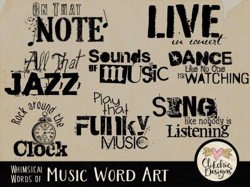 Whimsical Words of Music Word Art