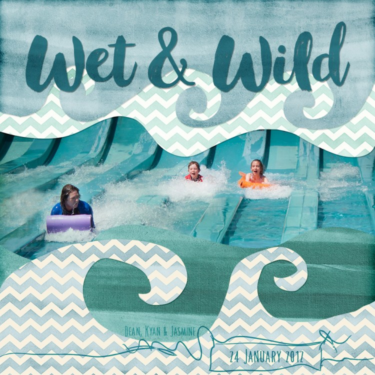 Wet and Wild Digital Scrapbook Layout made with the Beachy Watercolor Paper Pack