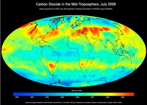 AIRS image of global carbon dioxide transport
