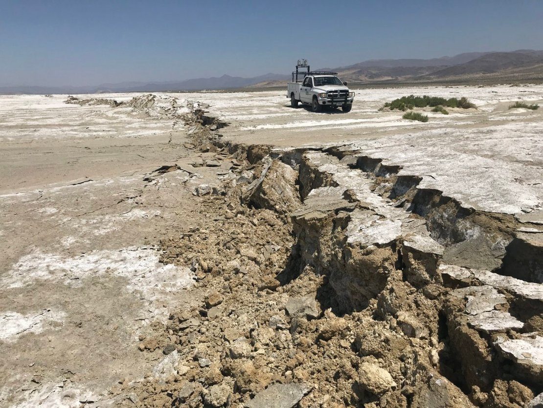 A USGS Earthquake Science Center Mobile Laser Scanning truck scans the surface rupture near the zone of maximum surface displacement of the magnitude 7.1 Searles Valley earthquake that struck the Ridgecrest, California area. Credit: USGS / Ben Brooks