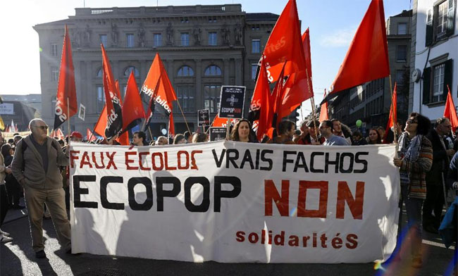 """Fake ecologists, real fascists. Ecopop No!"""