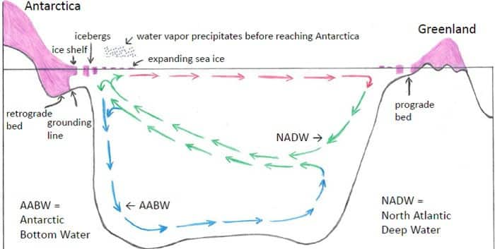 Fig. 1. Stratification and precipitation amplifying feedbacks. Stratification: increased freshwater/iceberg flux increases ocean vertical stratification, reduces AABW formation, and traps ocean heat that increases ice shelf melting. Precipitation: increased freshwater/iceberg flux cools ocean mixed layer, increases sea ice area, causing increase of precipitation that falls before it reaches Antarctica, adding to ocean surface freshening and reducing ice sheet growth. Retrograde beds in West Antarctica and the Wilkes Basin, East Antarctica make their large ice amounts vulnerable to such melting.