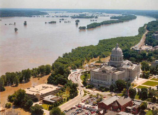 "Flood waters inundated parts of Jefferson City, Missouri, and threatened the Missouri State Capitol during the ""Great Flood of 1993."""
