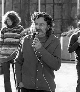 Alan Roberts speaking at a Hiroshima commemoration at Monash university in 1974