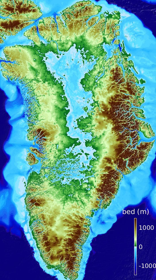 Fig. 2: Greenland without ice. The centre of the island is below sea level, largely due to the weight of the ice pushing the crust down into the mantle (this is called 'isostacy').(Image: NSIDC)