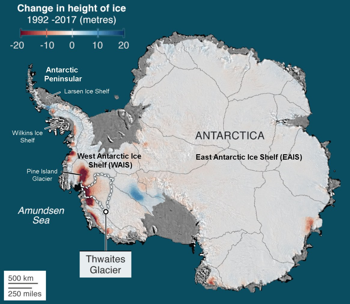 Fig. 1: Antarctica showing the Larsen and Wilkins Ice Shelves, Pine Island Glacier, and Thwaites Glacier — an ice shelf roughly the size of UK (176 x103 km2). The front of the glacier—its terminus—is nearly 120 km wide and >1000m below sea level.