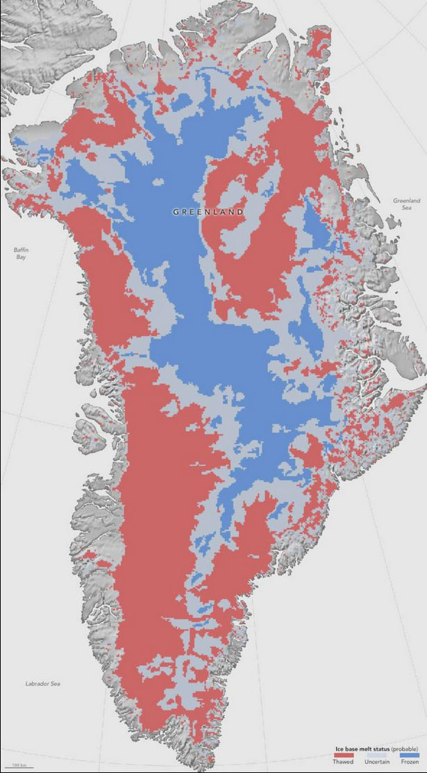 Fig. 3: In spite of the ice cap, large areas of the ground beneath the ice sheet have thawed (red). This warming causes the base of the glaciers to thaw (melt).(Image: Jessie Allen/ NASA Earth Observatory)