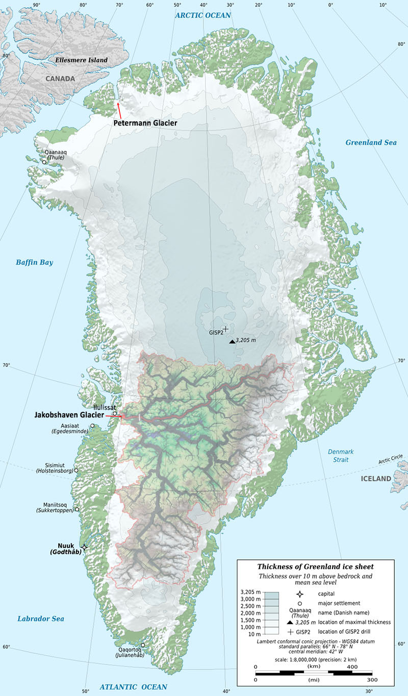Fig. 1: Greenland showing the thickness of the ice sheet. Much of the area coloured green along the edges has permanent snow cover (not ice) generally less than 10m thick. The Jakobshavn Isbræ glacier catchment is shown as an overlay in the south (Background image: Wikipedia; drainage area: Cooper et al, 2016).