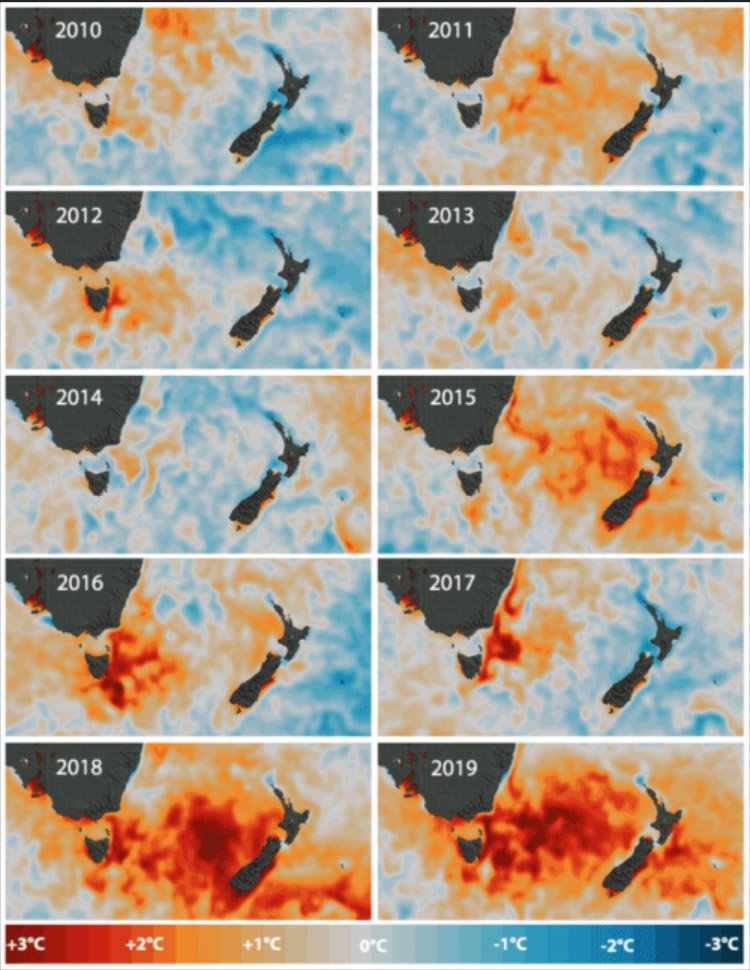 Fig. 3: Changes in ocean temperatures around New Zealand 2010 - 2019 (Image: NIWA). Warmer oceans means there's more water vapour over the water. And warmer air can carry more moisture. This powers tropical cyclones, so they may reach New Zealand more often, bringing greater risks of destructive winds and flooding.