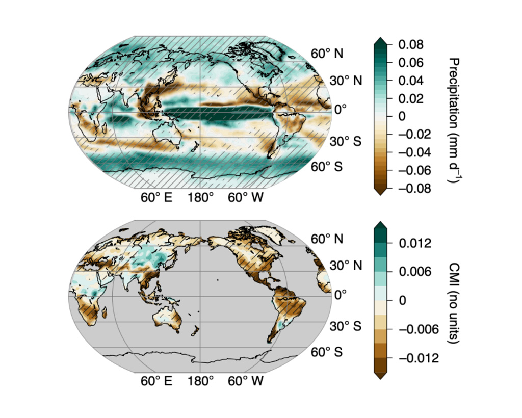 """Fig. 1: Local anomalies in rainfall (top) and the """"climate moisture index"""" (CMI; bottom) from 1860 to 2019 across the globe. Brown shows drying while green shows increases in rainfall and moisture. (Image: Bonfils et al.)"""