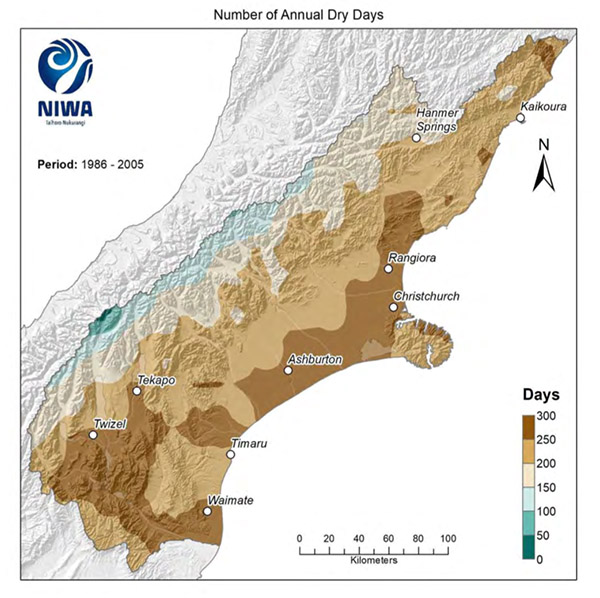 Fig. 5: Modelled annual number of dry days average 1986-2005. Results are based on dynamical downscaled projections using NIWA's Regional Climate Model. Resolution of projection is 5km x 5km. (Image: NIWA)