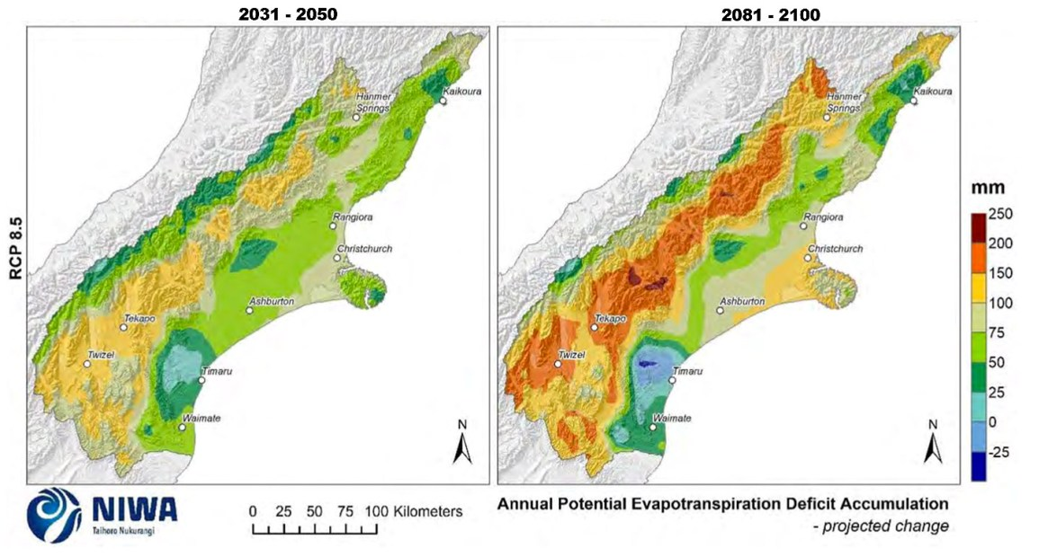 Fig.11: Projected annual potential evapotranspiration deficit (PED) accumulation changes under RCP8.5 climate change scenarios. Time periods: 2031-2050 (left) and 2081-2100 (right). Changes are relative to 1986-2005 average (Fig. 9) and should be added to those baseline figures to get the final projected figure. The figures in this and all graphs are based on the average of six global climate models. Results are based on dynamical downscaled projections using NIWA's Regional Climate Model. Resolution of projection is 5km x 5km. (Image: NIWA)