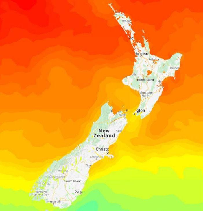 Fig. 4: 2020 Marine Heatwave (image: WeatherWatch).