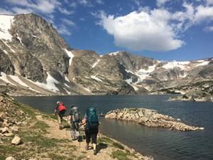 Hiking by Glacier Lake.