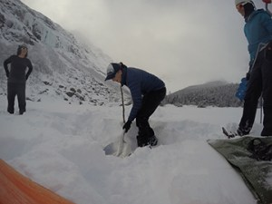 Digging out Ice Hole.