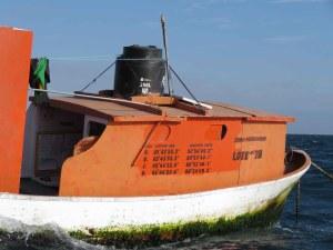 Guard boat for ocean monitoring buoy in Parachique, Sechura Bay.