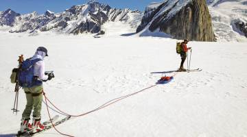 Ground-penetrating radar being used on Ruth Glacier in Denali National Park.