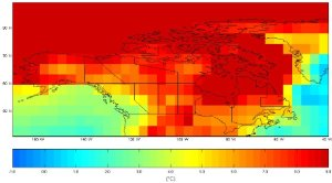 Projected temperature 2080s Canada