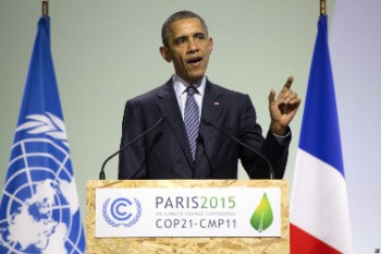 Obama pushing for climate treaty at COP21.