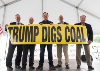 trump digs coal sign