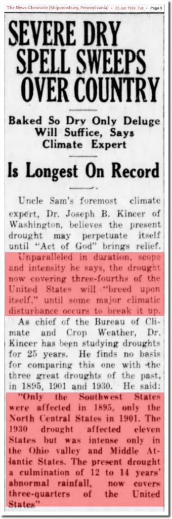 News-Chronicle severe dry spells 1934