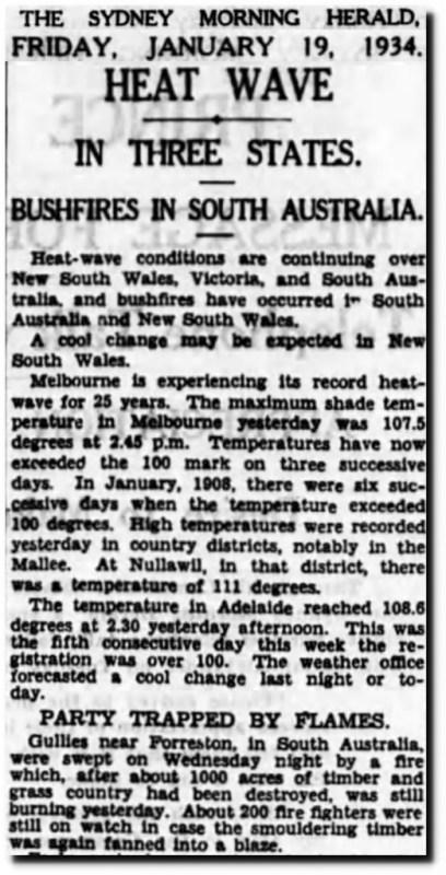 Sydney Morning Herald 1934 heat wave