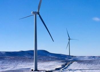 frozen wind turbine