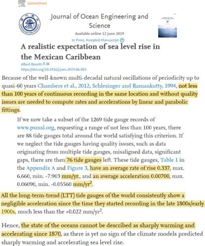 sea level rise boretti paper