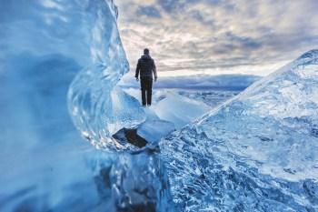 man cold frozen landscape