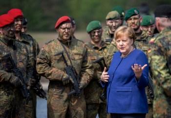 merkel with troops