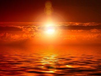ocean sun clouds