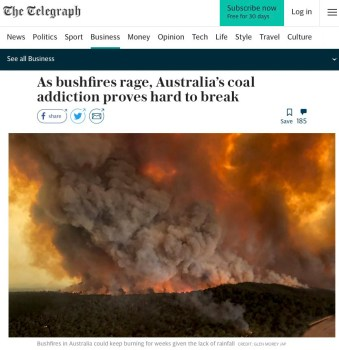telegraph coal brushfires australia
