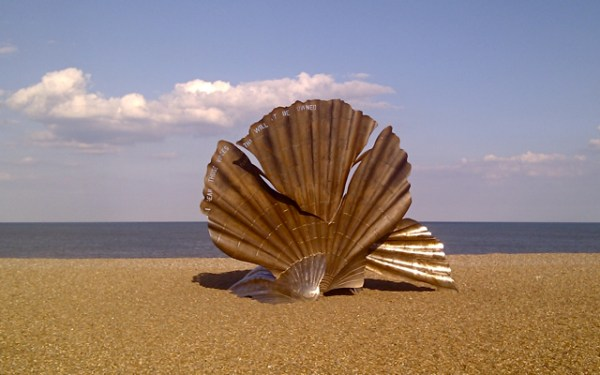 "Nonviolence - Scallop, by Maggi Hambling, on Aldeburgh beach. ""I hear those voices that will not be drowned."" Photograph: Mark Goldthorpe"