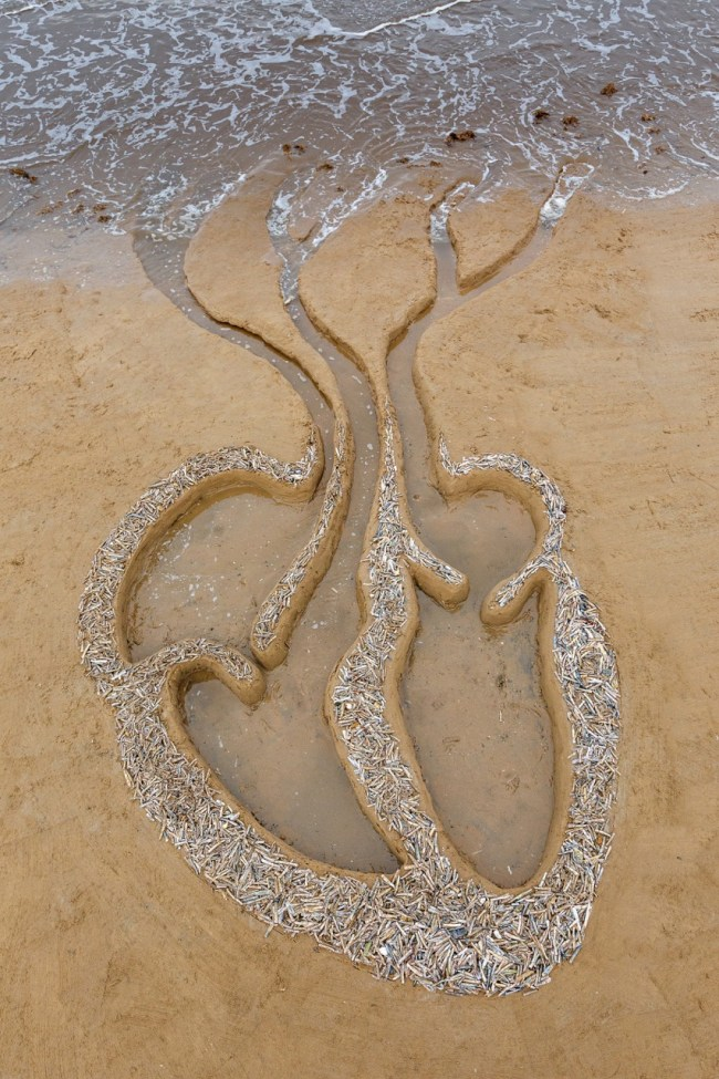 Predicament of the imagination - showing SeaHeart, a sculpture by Liz McGowan on Brancaster Beach, Norfolk