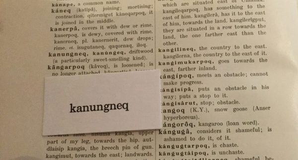 Arctic words - Kanungneq, letterpress-printed card from The Greenlandic-English Dictionary, photo by Nancy Campbell