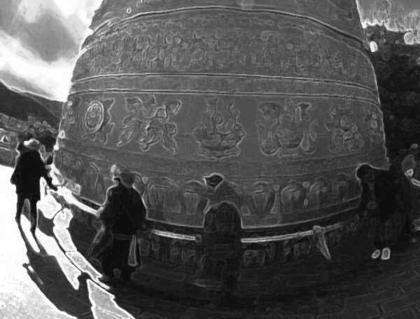 Tibetan prayer wheel. Original photograph by Xinhua/Lin Yiguang