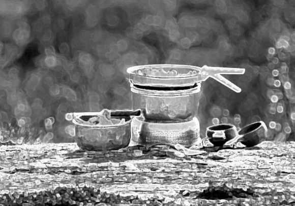 Objects: Trangia cooking. Photograph by Trangia