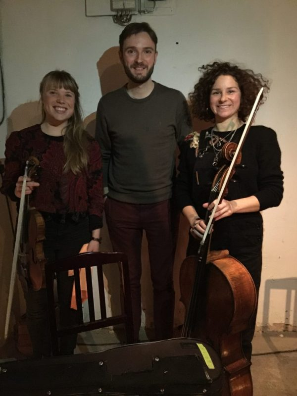 Performers Fran & Flora with ClimateKeys guest speaker, Social Theorist Nolan MacGregor at PowPowPower