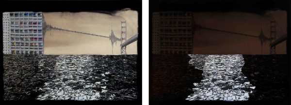 Shakes, a diptych by artist Yky, explores urban resilience by presenting two images. The first one illustrates the hazard (here, the earthquake), the second the impact on a non-resilient city.