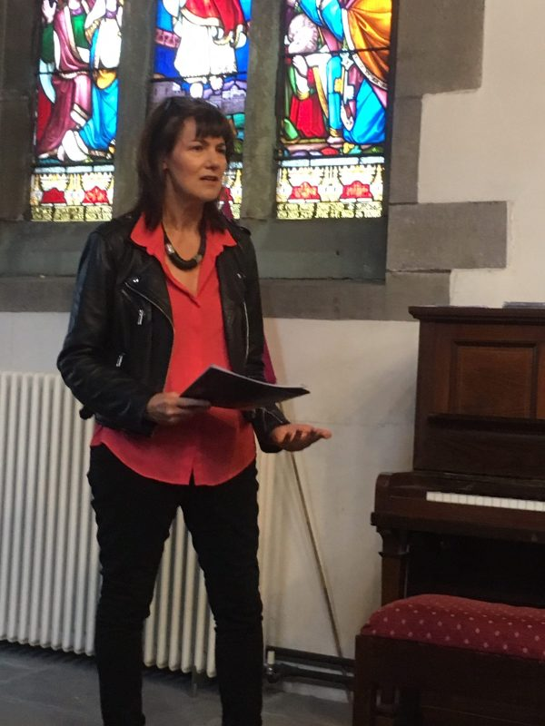 Showing Tessa Gordziekjo, ClimateKeys guest speaker on climate emergency, Heptonstall 2019. Photograph by Lola Perrin