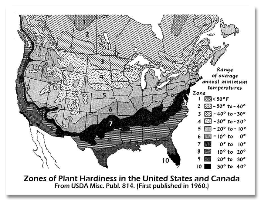 also the first traditional usda hardiness zone map is not the same scale as those after 1948zones are 15 degrees not 10 click the images to see larger