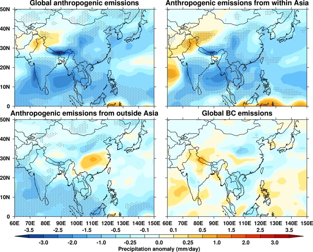 Pollution Weakens Monsoon's Might: Local, Global Emissions Suppress South Asian Summer Rainfall | Climate and Earth System Modeling