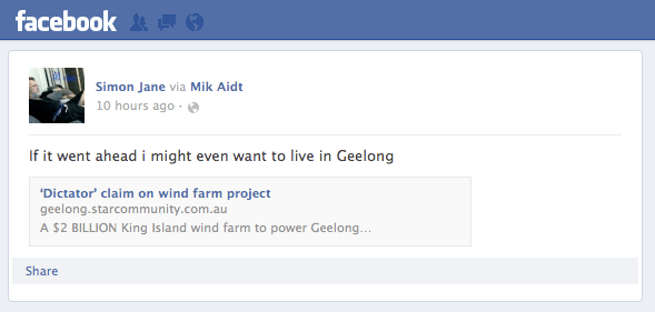 Facebook comment-to the article in Geelong Independent